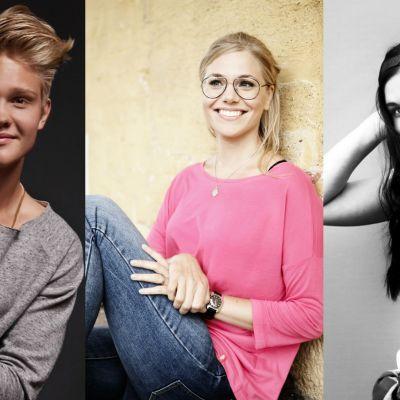 Jurymedlemmarna i MGP 2016 - Benjamin, Eva Kela och Ella Sanoo.