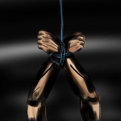 Symbolisk grafik som föreställer ett par bundna händer.