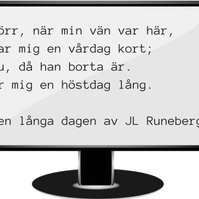 """Dikten """"Den långa"""" dagen av JL Runeberg som exempel på dikt i lösenord."""