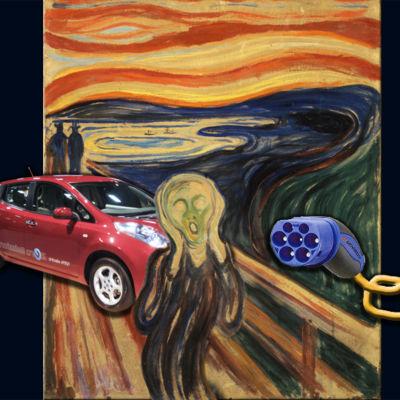Munchs skriet med infogad elbil och laddsladd.