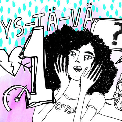 Piirretyssä jaksokuvassa kiharapäinen nainen ja kuvitusta.