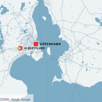 Karta på Själland och västra södra Sverige med Köpenhamn och Albertslund utmärkta.