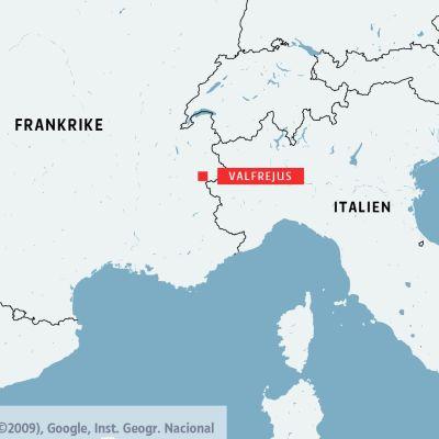 Karta över Frankrike och norra Italien med skidorten Valfrejus utmärkt.