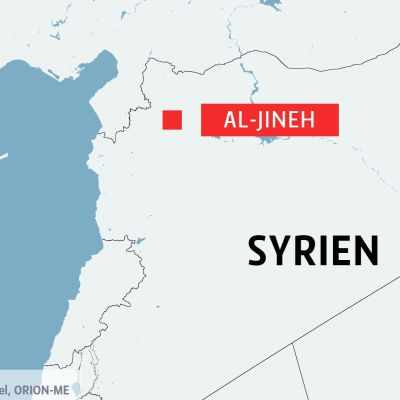 Karta över Syrien och staden Al-Jineh