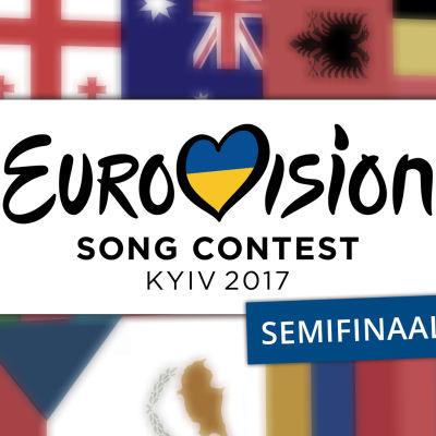 Kuvassa lukee Eurovision Song Contest Kyiv 2017, Semifinaali 1. Tekstiä ympäröi osallistuvien maiden liput.