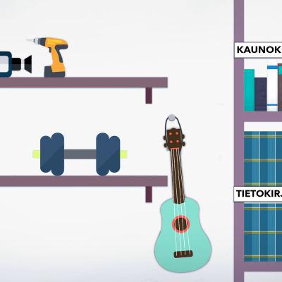 Piirros kirjastosta, jossa soittimia, työkaluja, voimailuvälineitä, tietokirjoja ja muutama kaunokirjallinen teos