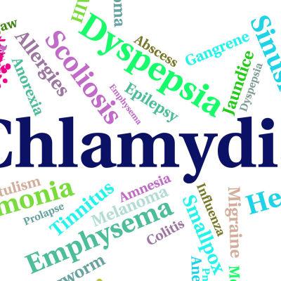 ord som har med klamydia och göra mot en vit bakgrund