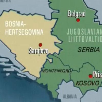Karttakuva Bosnia-Hertsegovinan, Serbian, Montenegron ja Kosovon alueista.
