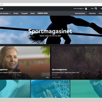 Sportmagasinets sida på Yle Arenan