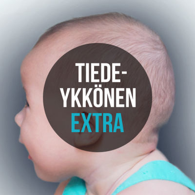 Vauvan pää sivulta nähtynä, pään keskellä ympyrässä lukee Tiedeykkönen Extra