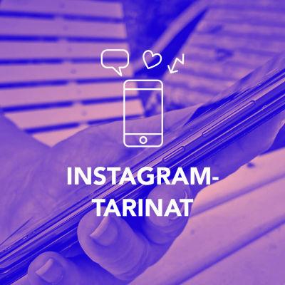 Digitreeni-artikkelin pääkuva, jossa nuori nainen kuvaa kännykällä Latte-lasia ja päällä teksti Instagram tarinat