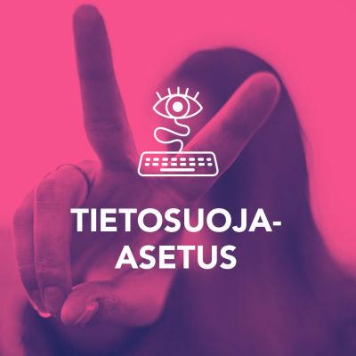 Digitreenit pääkuva, GPRS Tietosuoja-asetus tekstillä. Taustalla pikselöitynyt kuva ihmimsen päästä, joka suunnasta tulevia ykkösiä ja nollia