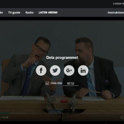 En skärmdump av Yle Arenan i webbläsare