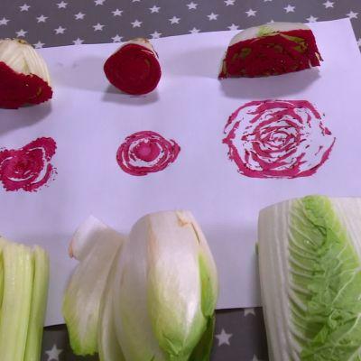 Rosenmönster av grönsaker