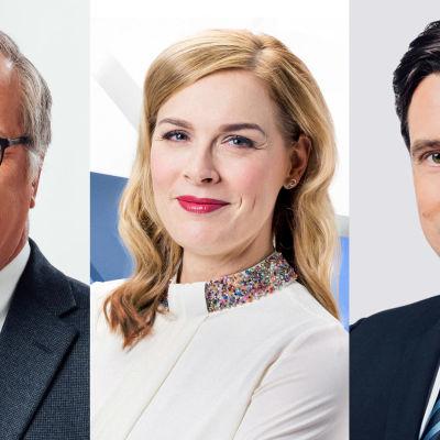 Kuvassa ovat Ylen uutisjuontajat Matti Rönkä, Piia Pasanen ja Jussi-Pekka Rantanen.