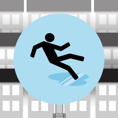 Grafiikka: henkilö liukastuu jäisellä kadulla, taustalla kerrostaloja.