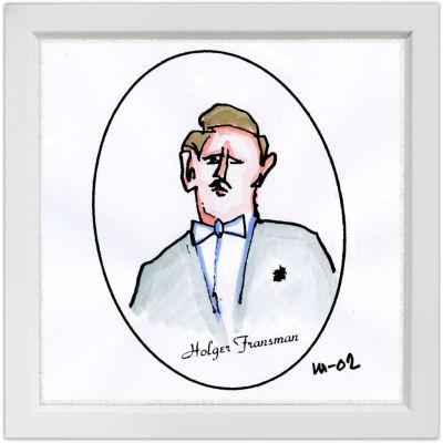 Lassi Rajamaan piirros käyrätorvensoittaja Holger Fransmanista.