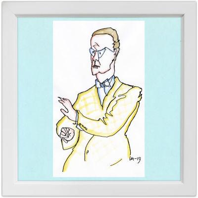 Lassi Rajamaan piirros kapellimestari Martti Similästä.