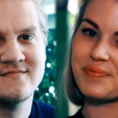 Kuvassa on kaksi nuorta toimittajaa, mies ja nainen.