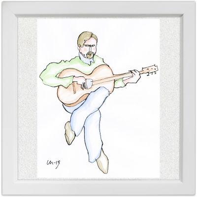 Lassi Rajamaan piirros kitaristi Ismo Eskelisestä.