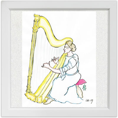 Lassi Rajamaan piirros harpisti Lilly Kajanus-Blenneristä.