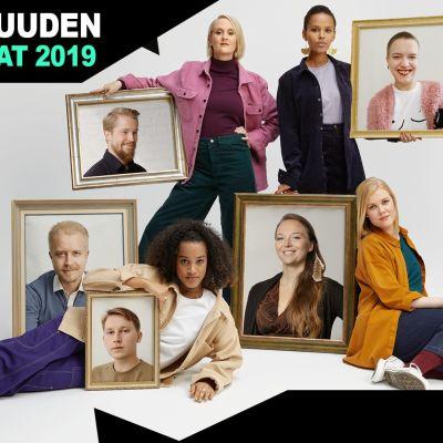 Yle Kioskin valitsemat vuoden 2019 tulevaisuuden vaikuttajat ryhmäkuvassa.