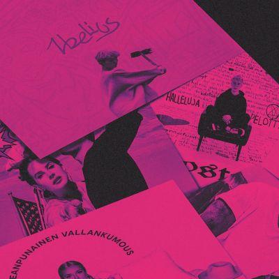 Levyjä levitettynä vaaleanpunaisen filtterin alla. Kuvassa näkyy Lana Del Reyn, Pariisin Kevään, Iben, Costeen, F:n, Ellinooran ja Lizzon levyt.