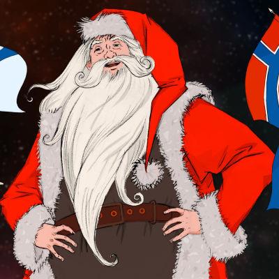 Kuvituskuva, jossa eri maat tarjoavat lippuaan keskellä seisovalle joulupukille.