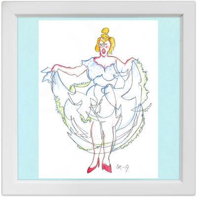Lassi Rajamaan piirros operettitähti Mary Hannikaisesta.