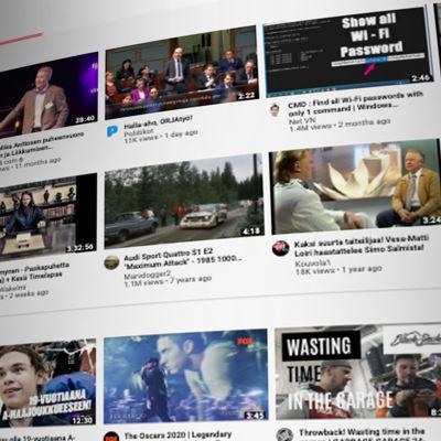 Kuvakaappaus toimittajan Youtube-etusivusta