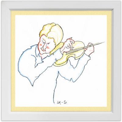 Lassi Rajamaan piirros viulisti Antti Tikkasesta.