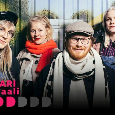 Dokkarifestivaalin suosittelijat Mona, Julia, Jesse ja Aino