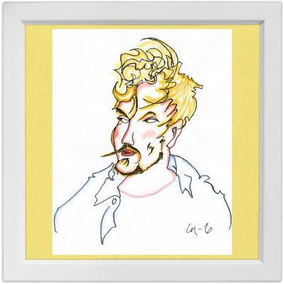 Lassi Rajamaan piirros säveltäjä Sebastian Hillistä.