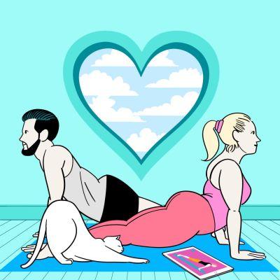 Piirretty kuva, jossa nainen, mies ja kissa jumppaavat turkoosilla matolla sydämenmuotoisen ikkunan edessä. Etualalla aikakauslehti.