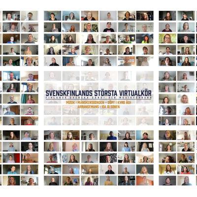 Åtta större rutor med många små rutor med bilder på människor i. I mitten står det Svenskfinlands största virtualkör.