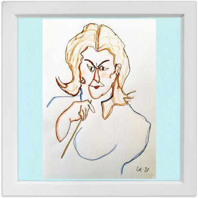 Lassi Rajamaan piirros kapellimestari Anna-Maria Helsingistä.