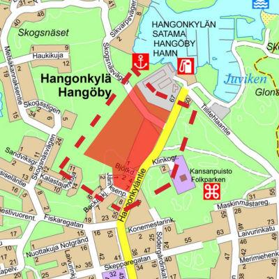 Karta över ett område längs Hangöbyvägen där det planeras småhus.