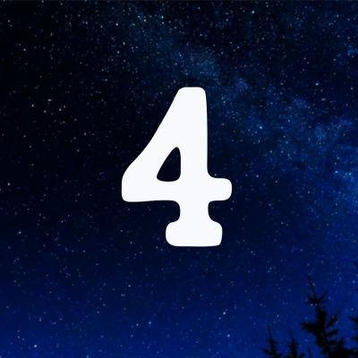 Kuvituskuva. Tähtitaivas ja joulukalenterin luukku nro 4.