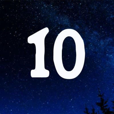 Kuvituskuva. Tähtitaivas ja joulukalenterin luukku nro 10.
