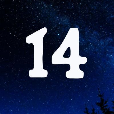 Kuvituskuva. Tähtitaivas ja joulukalenterin luukku nro 14.