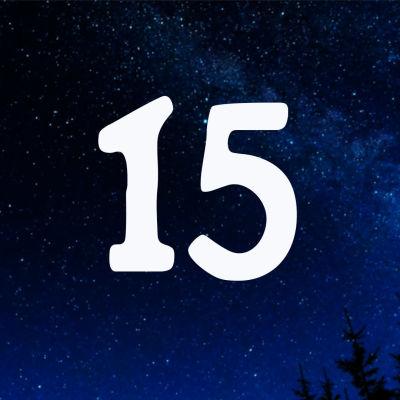 Kuvituskuva. Tähtitaivas ja joulukalenterin luukku nro 15.