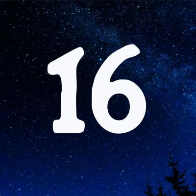 Kuvituskuva. Tähtitaivas ja joulukalenterin luukku nro 16.