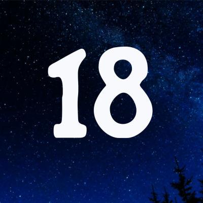 Kuvituskuva. Tähtitaivas ja joulukalenterin luukku nro 18.