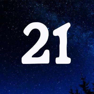 Kuvituskuva. Tähtitaivas ja joulukalenterin luukku nro 21.
