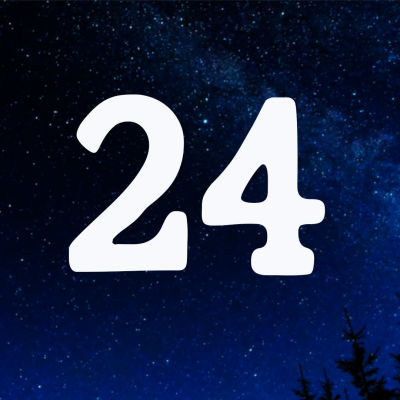 Kuvituskuva. Tähtitaivas ja joulukalenterin luukku nro 24.