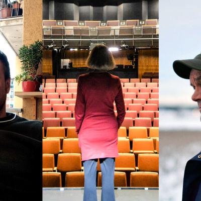 Ett collage av tre bilder: två män och en kvinna