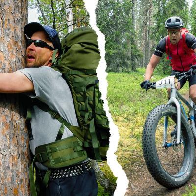 """Mikko """"Peltsi"""" Peltola halaa puuta ja ajaa maastopyörää kuvakollaasissa."""