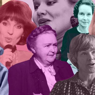 Väritetty kuvakollaasi, jossa Kikka, S.Sella, Paula Koivuniemi, Hella W., Inkeri Anttila, Tove Jansson ja Elisabeth Rehn