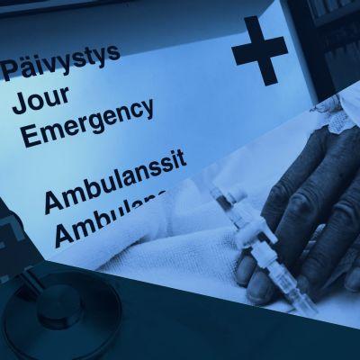 Ett bildkollage av sjukvårdspersonal, en sjukhusskylt och en patients hand