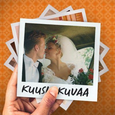 Helena Ahti-Hallberg tuoreena morsiamenia aviomiehensä kanssa hääauton takapenkillä kurottumassa suudelmaan.